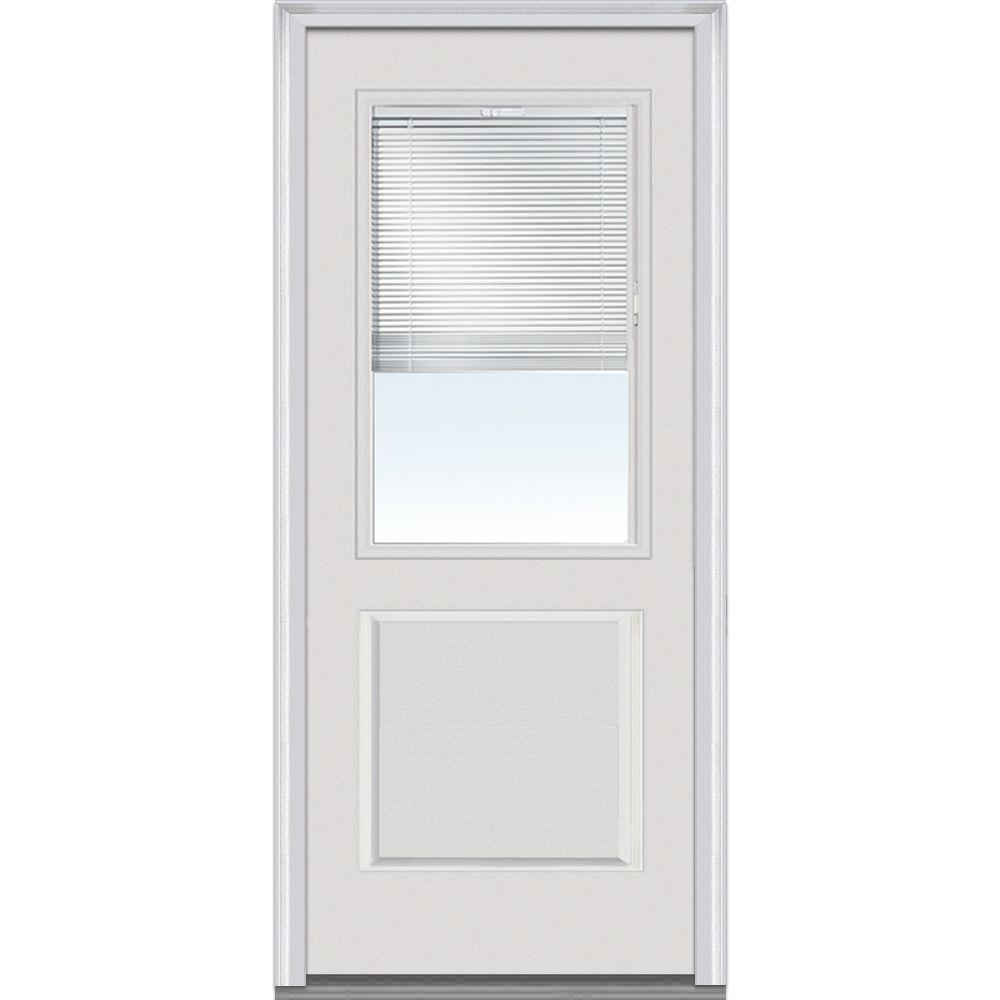 Milliken Millwork 32 in. x 80 in. Internal Mini Blinds Clear Glass 1/2 Lite 1-Panel Primed White Fiberglass Smooth Prehung Front Door