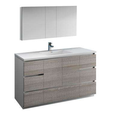 Lazzaro 60 in. Modern Bathroom Vanity in Glossy Ash Gray with Vanity Top in White with White Basin and Medicine Cabinet