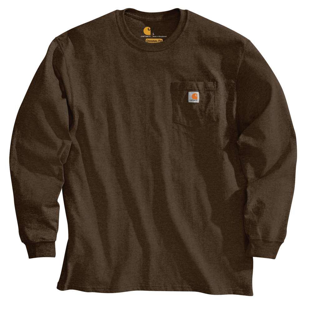 Men's Regular Medium Dark Brown Cotton Long-Sleeve T-Shirt