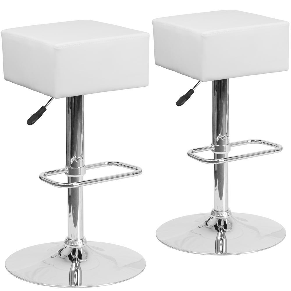 30.25 in. White Bar stool (Set of 2)