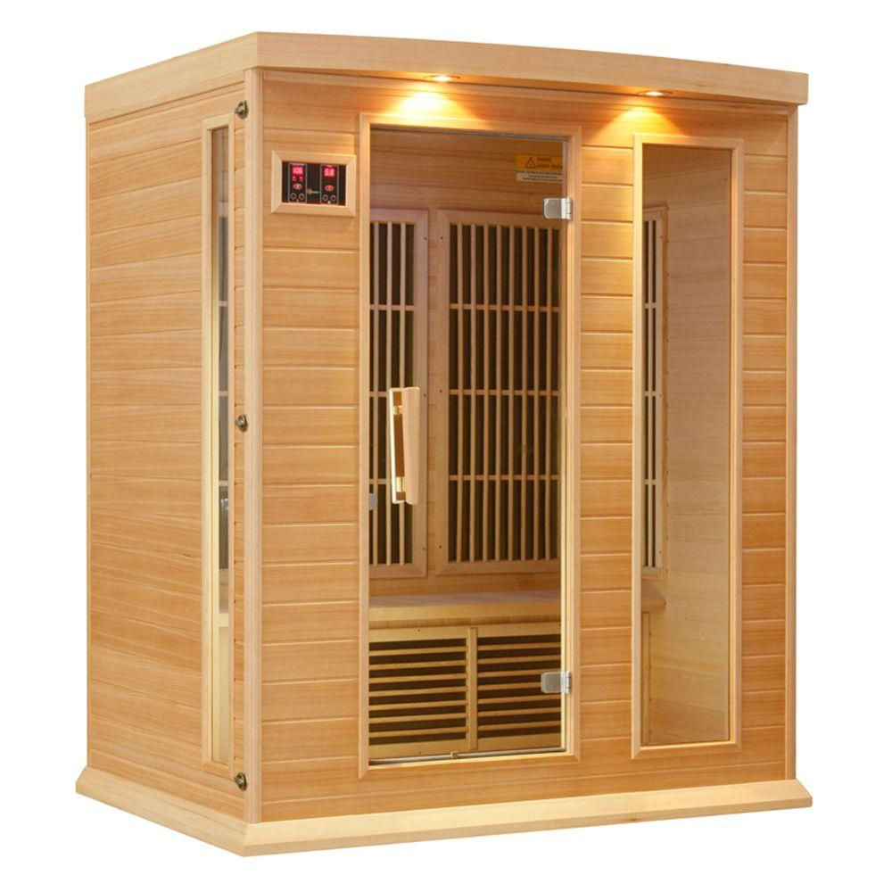 3-Person Carbon Infrared Sauna with Chromotherapy Lighting and Radio