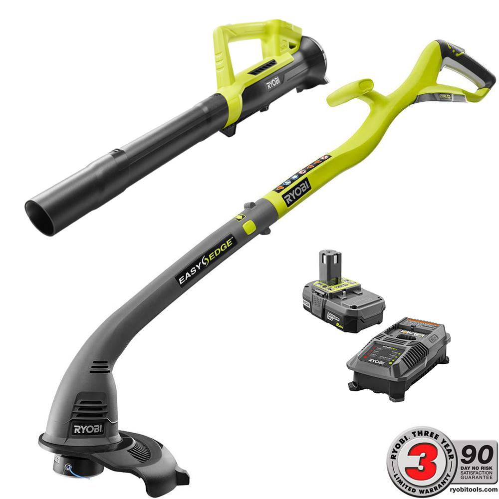 ONE+ 18-Volt Lithium-Ion String Trimmer/Edger and Blower Combo Kit 2.0 Ah