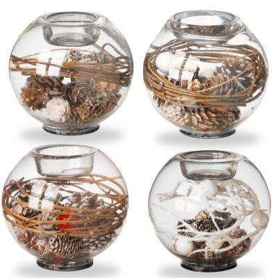 4 in. Pinecone Glass Candle holders (Set of 4)