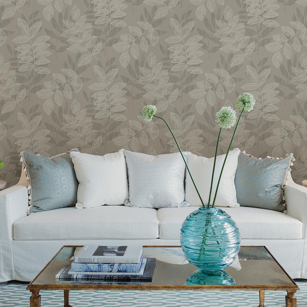 56.4 sq. ft. Chimera Platinum Flocked Leaf Wallpaper