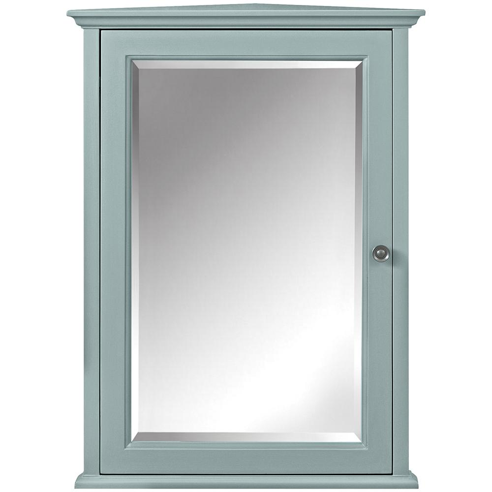Reviews For Home Decorators Collection Hamilton 20 In W X 27 In H X 12 In D Corner Bathroom Storage Wall Cabinet In Sea Glass 0567700310 The Home Depot