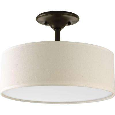 Inspire 13 in. 2-Light Antique Bronze Semi-Flushmount
