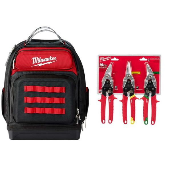 15 in. Ultimate Jobsite Backpack W/ Left, Right, and Straight Aviation Snips (3-Pack)