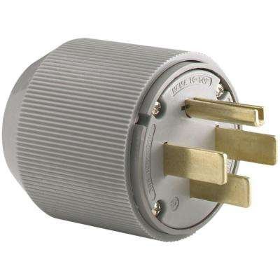 50 Amp 125/250-Volt 14-50 Industrial Power Plug - Gray