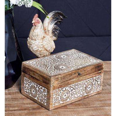 Rectangular Mango Wood Boxes with Lid and Ornate Floral Carvings (Set of 3)