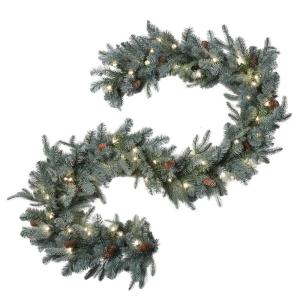 9 ft. Feel-Real Alaskan Spruce Artificial Garland with Pinecones and 50 Clear Lights