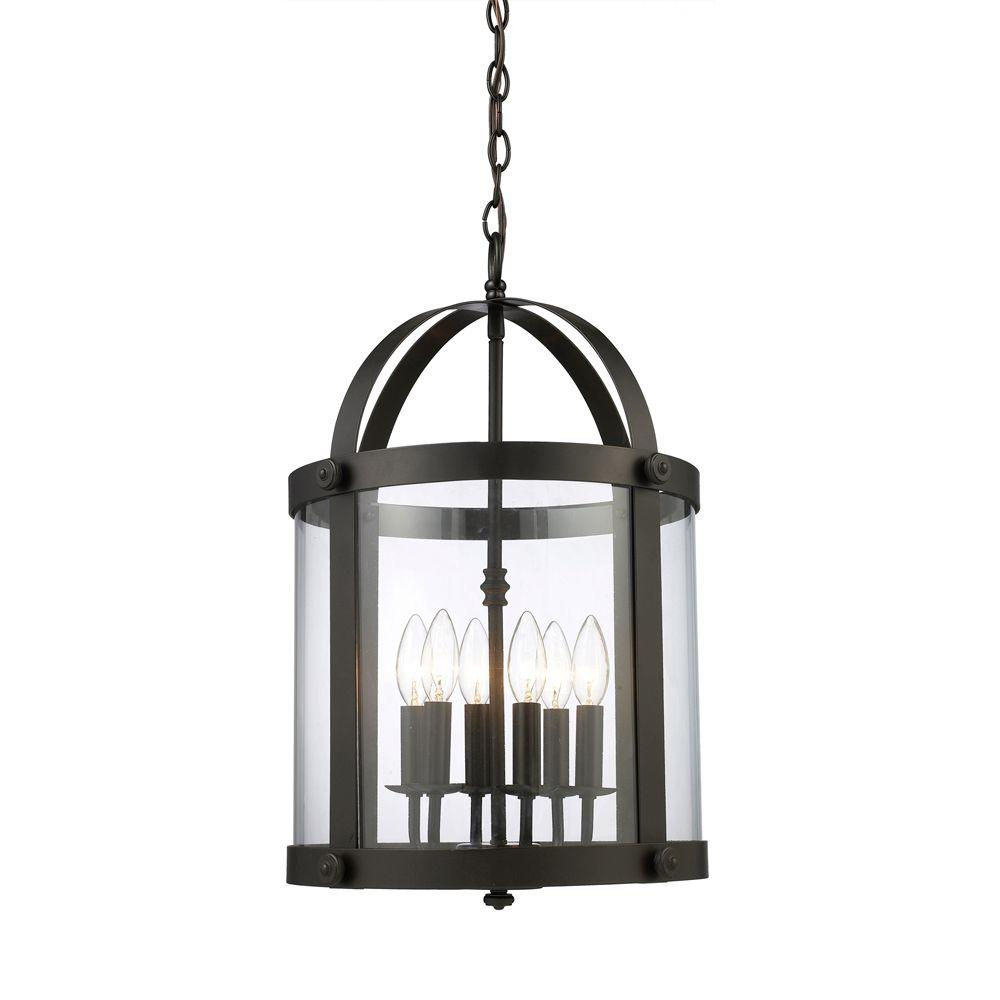 Chesapeake 6-Light Oiled Bronze Ceiling Mount Pendant