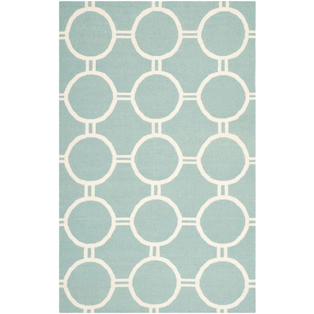 Dhurries Light Blue/Ivory 5 ft. x 8 ft. Area Rug
