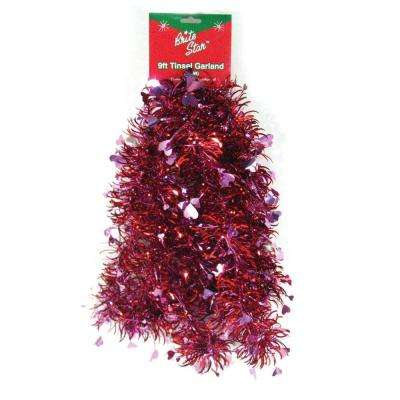 9 ft. Valentine Red Heart Tinsel Garland (Set of 4)