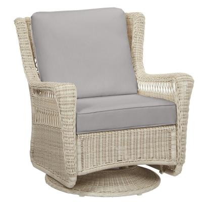 Park Meadows Off-White Wicker Outdoor Patio Swivel Rocking Lounge Chair with CushionGuard Stone Gray Cushions