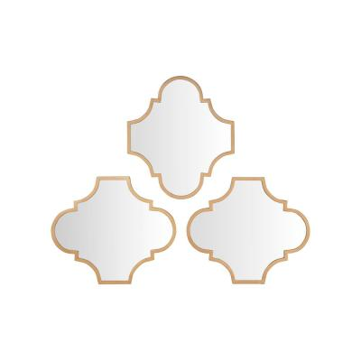 Small Ornate Gold Classic Accent Mirror  - Set of 3 (16 in. H x 19 in. W)
