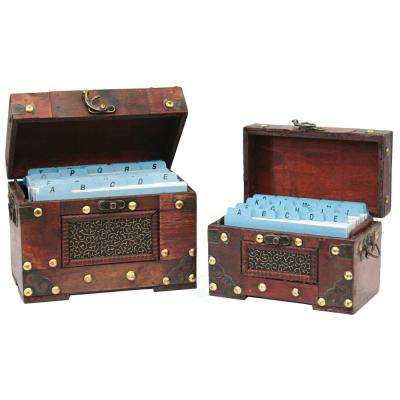 Rustic Studded Index/Recipe Card Box with Antiqued Latch (Set of 2-Sizes)