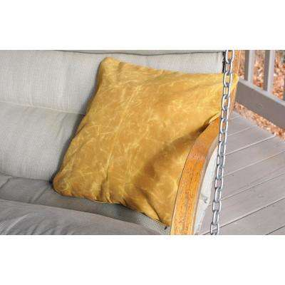 20 in. x 20 in. Waxed Canvas Yellow Square  Standard Pillow with Green Eco Friendly Insert