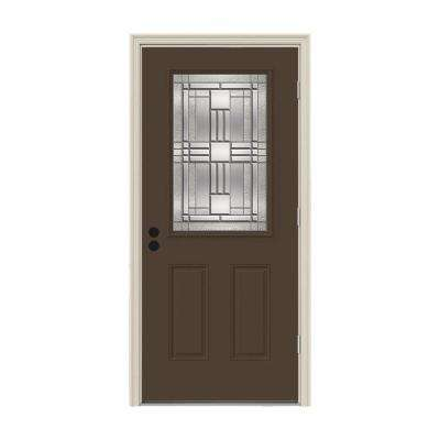 32 in. x 80 in. 1/2 Lite Cordova Dark Chocolate Painted Steel Prehung Left-Hand Outswing Front Door w/Brickmould