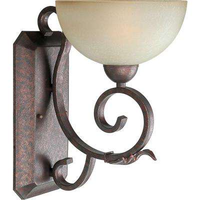 1-Light Black Cherry Sconce with Umber Mist Glass