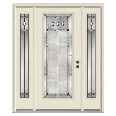 62 in. x 80 in. Full Lite Mission Prairie Primed Steel Prehung Left-Hand Inswing Front Door with Sidelites