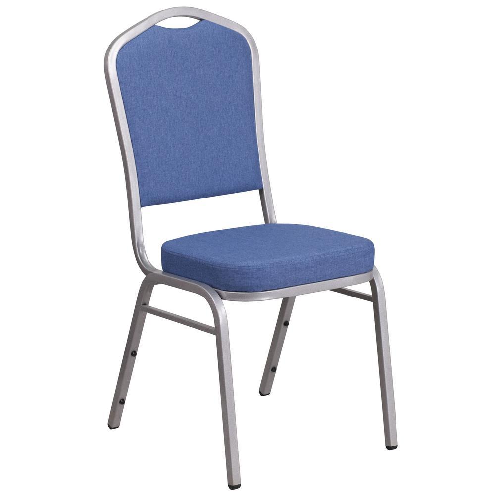 Flash Furniture Blue Fabric/Silver Frame Stack Chair CGA-FD-182222-BL-HD