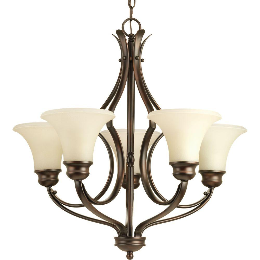 Applause Collection 5-Light Antique Bronze Chandelier with Shade with  Natural - Progress Lighting Bravo Collection 5-Light Antique Bronze