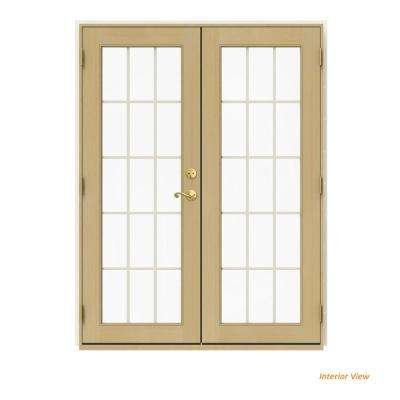60 in. x 80 in. W-2500 Vanilla Clad Wood Right-Hand 15 Lite French Patio Door w/Unfinished Interior