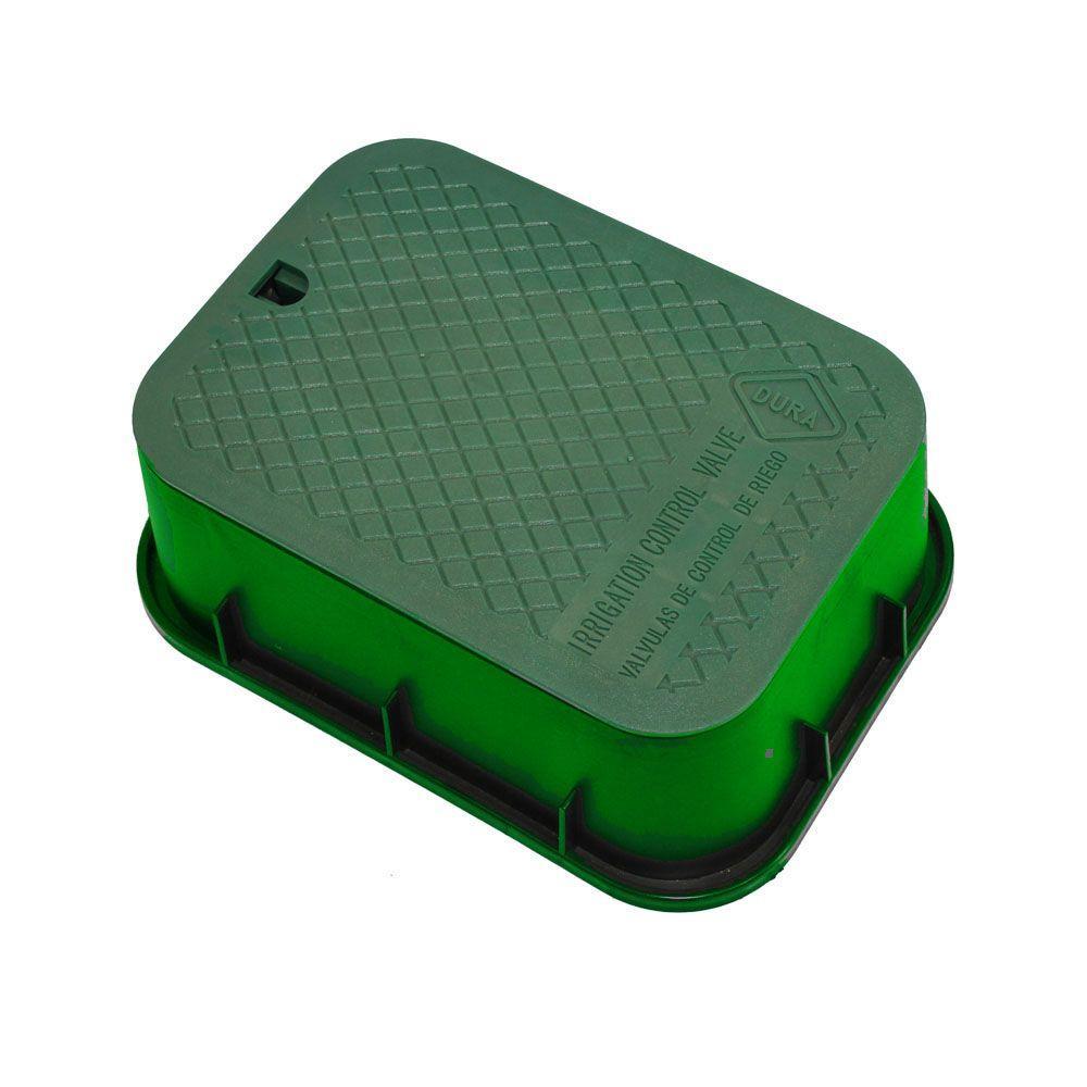 DURA 12 in. x 17 in. x 6 in. Deep Rectangular Valve Box in Green Body Green Lid