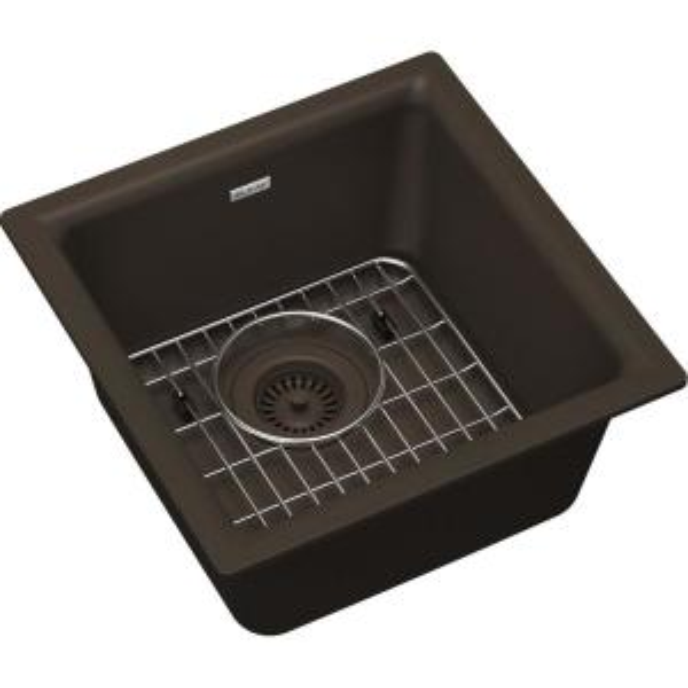 Classic Quartz Mocha 16 in. Single Bowl Dual Mount Kitchen/Bar Sink Kit