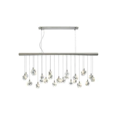 Bling 41.2 in. W 26-Light Satin Nickel Island Linear Suspension Chandelier with Crystal Puck Shades and Xenon Bulbs