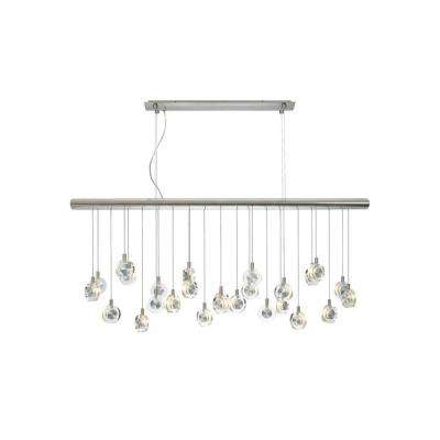 Bling 26-Light Satin Nickel Clear Suspension Xenon Hanging Chandelier with Crystal Shade