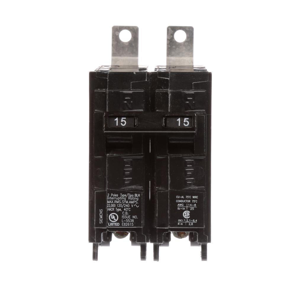 siemens 15 amp 2 pole type blh 22 ka circuit breaker b215h the home depot. Black Bedroom Furniture Sets. Home Design Ideas