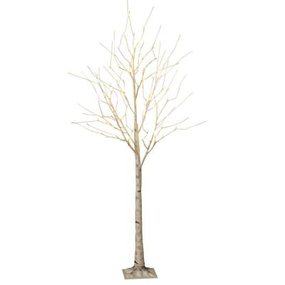 6 ft. Birch Bark Effect Lighted Tree with LED Warm White Lights