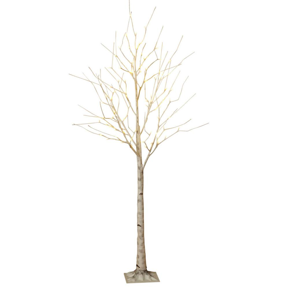 Birch Bark Effect Lighted Tree With Led Warm White Lights