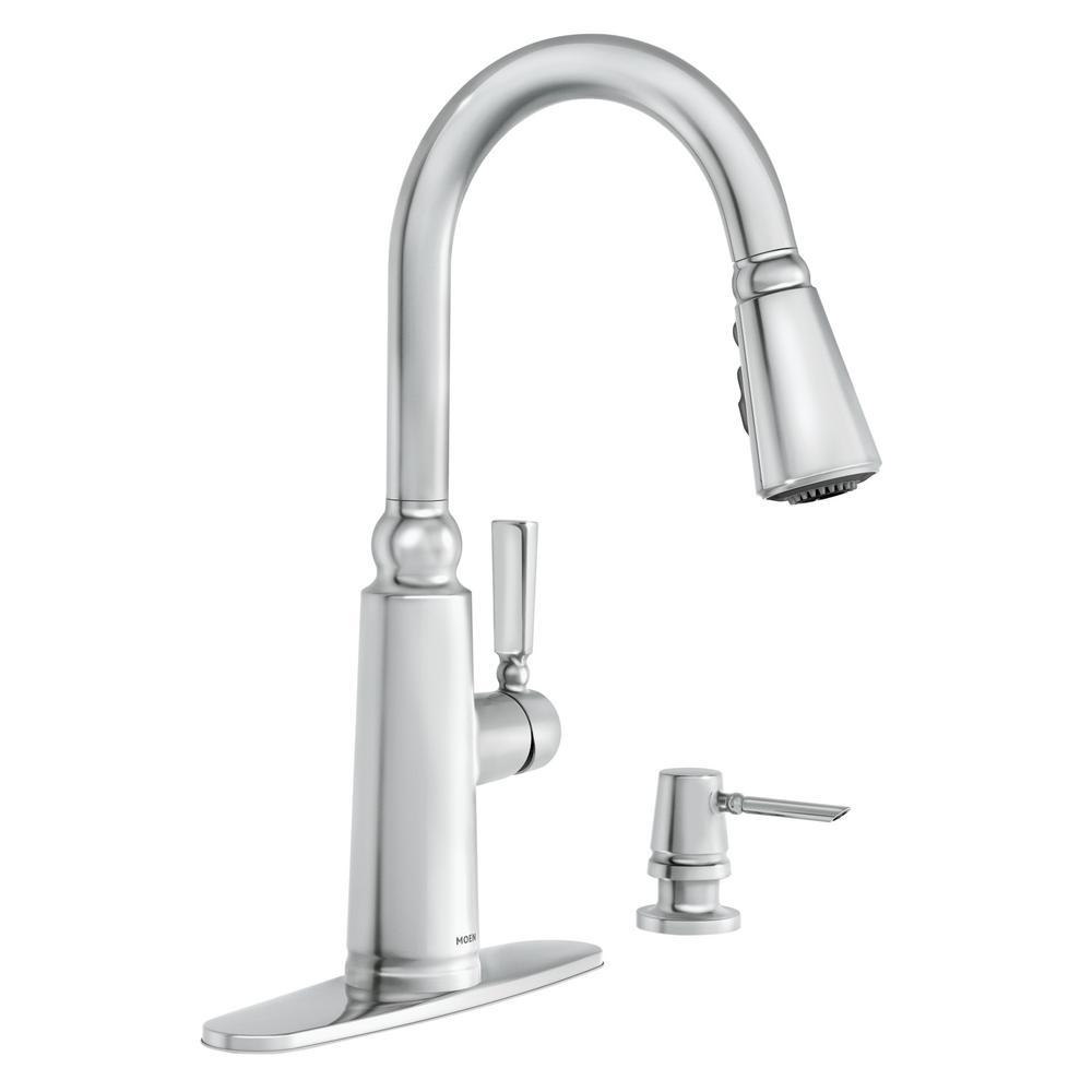 MOEN Coretta Single-Handle Pull-Down Sprayer Kitchen Faucet with ...