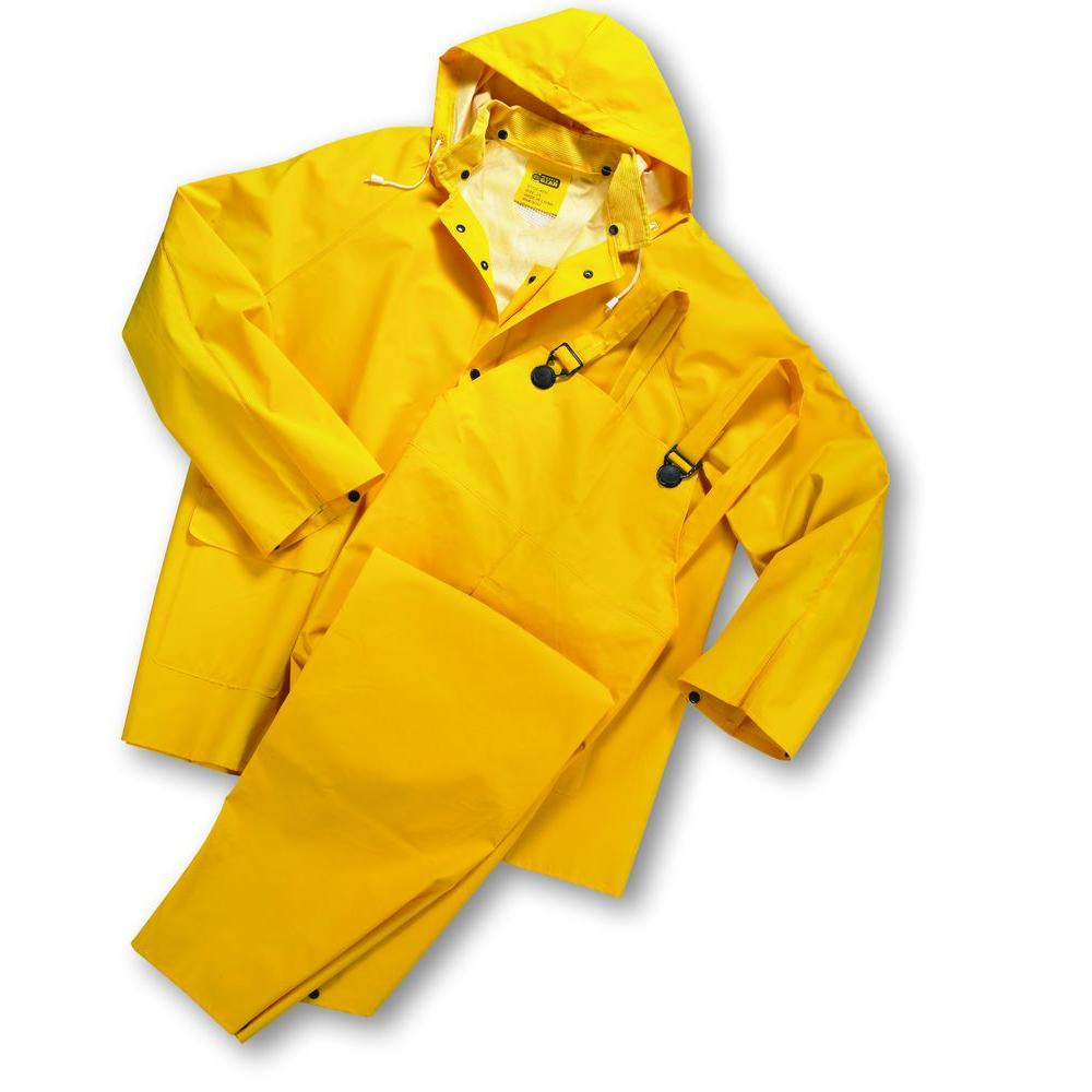 West Chester 35 mm PVC Over Polyester Size 3 XL Flame Resistant Rain Suit (3 per Pack)