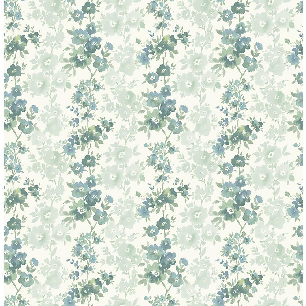 Charlise Teal Floral Stripe Wallpaper