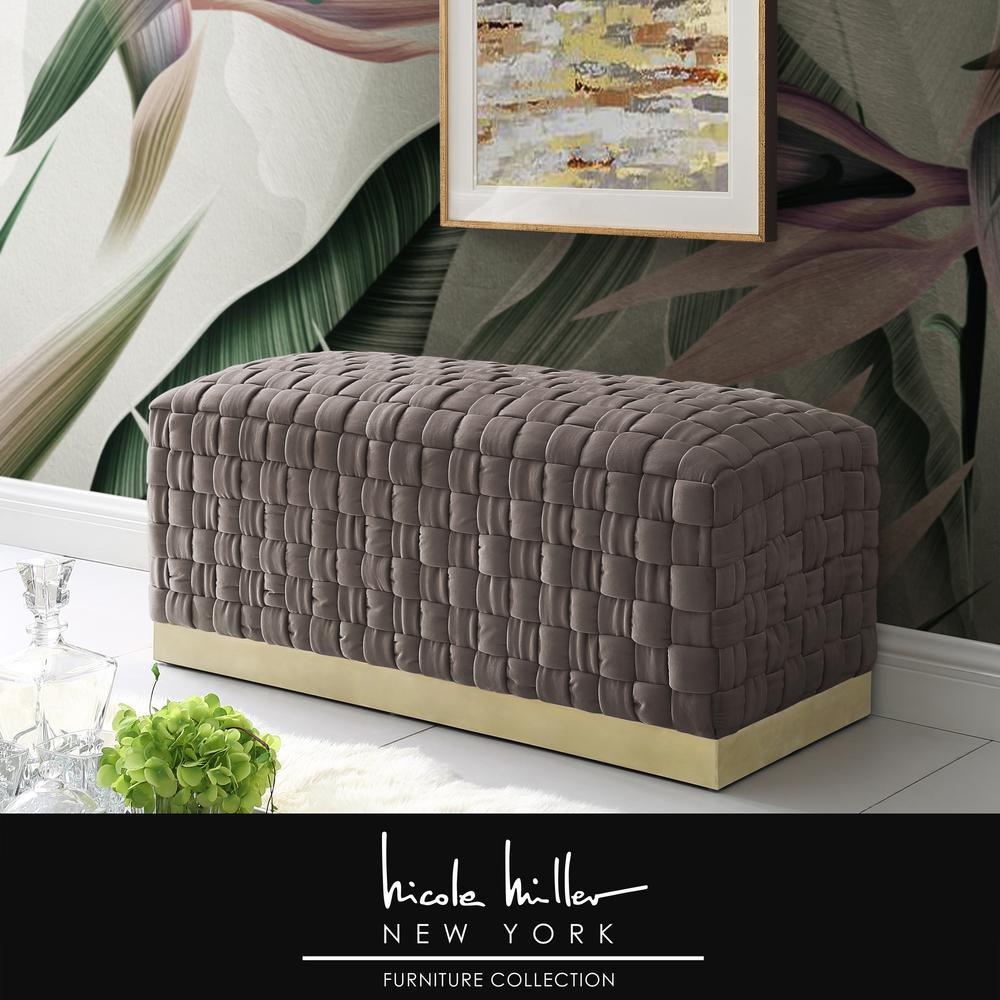 Diamond Hand Woven Taupe/Gold Velvet Bench