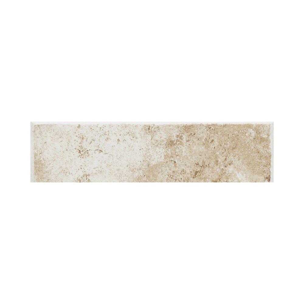 Fidenza Bianco 3 in. x 9 in. Ceramic Bullnose Wall Tile