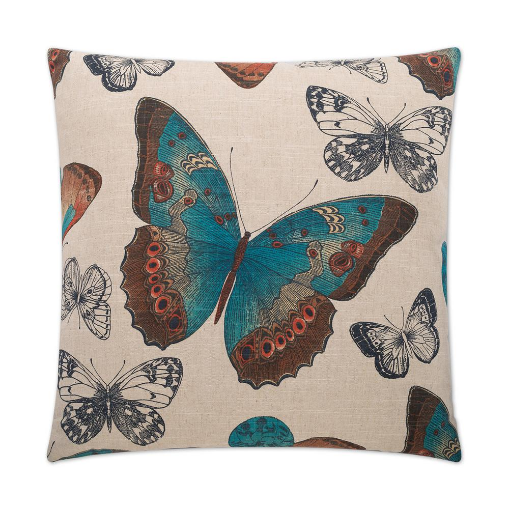 Madame Butterfly Turquoise Feather Down 24 in. x 24 in. Standard