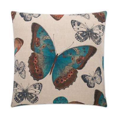 Madame Butterfly Turquoise Feather Down 24 in. x 24 in. Standard Decorative Throw Pillow