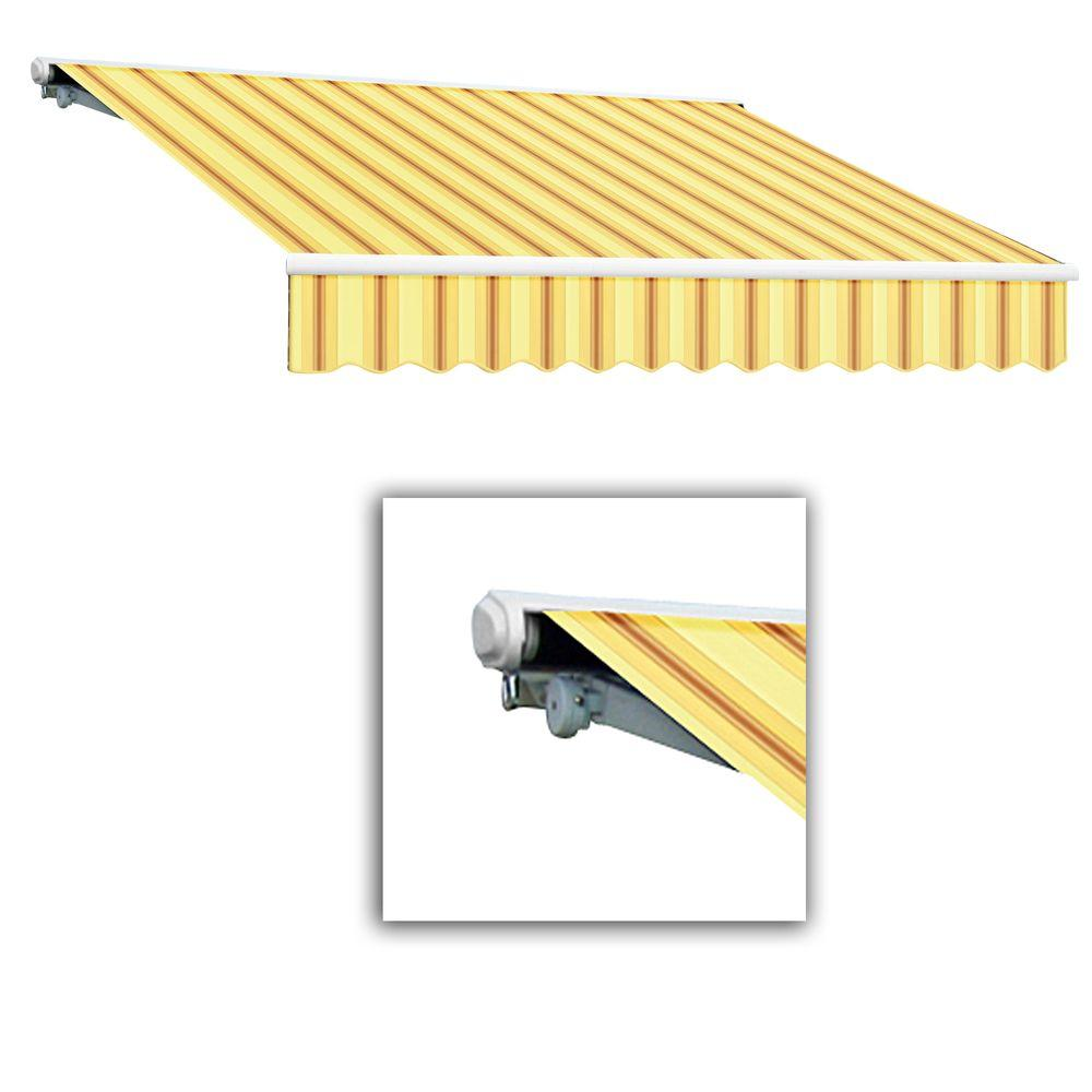 AWNTECH 18 ft. Galveston Semi-Cassette Left Motor with Remote Retractable Awning (120 in. Projection) in Yellow/Terra