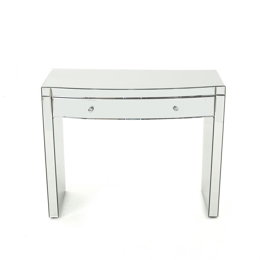 Noble House Navaeh Curved Mirrored Console Table With Drawer 301868