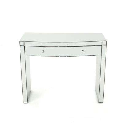 Navaeh Curved Mirrored Console Table with Drawer