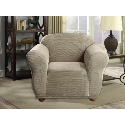 Hayden Water Resistant Taupe Fit Polyester Fit Chair Slip Cover