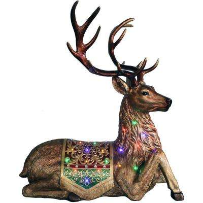 4 ft. Christmas Sitting Reindeer with Metallic Finish with Long-Lasting LED Lights