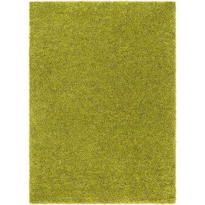 Madison Shag Plain Green 5 ft. x 7 ft. Modern Solid Area Rug