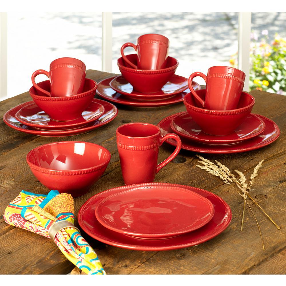 Algarve 16-Piece Solid Red Ceramic Dinnerware Set (Service for 4)