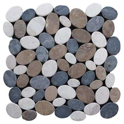 Pebble Marble Tile Tan/ Off-White/Grey  11-1/2 in x 11-1/2 in x 9.5mm Mesh-Mounted Mosaic Tile (10.12 sq. ft. / case)