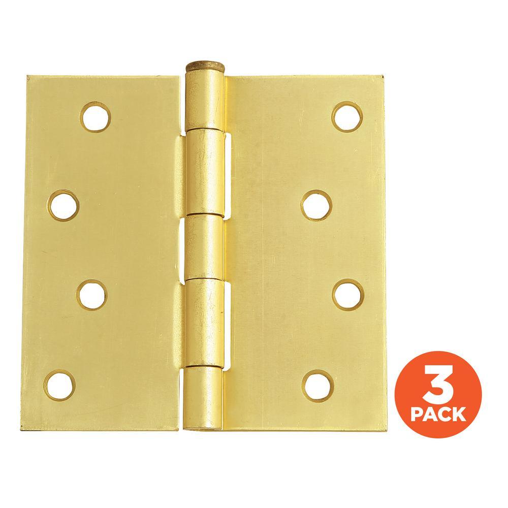 Everbilt 4 In Satin Brass Adjustable Spring Door Hinge